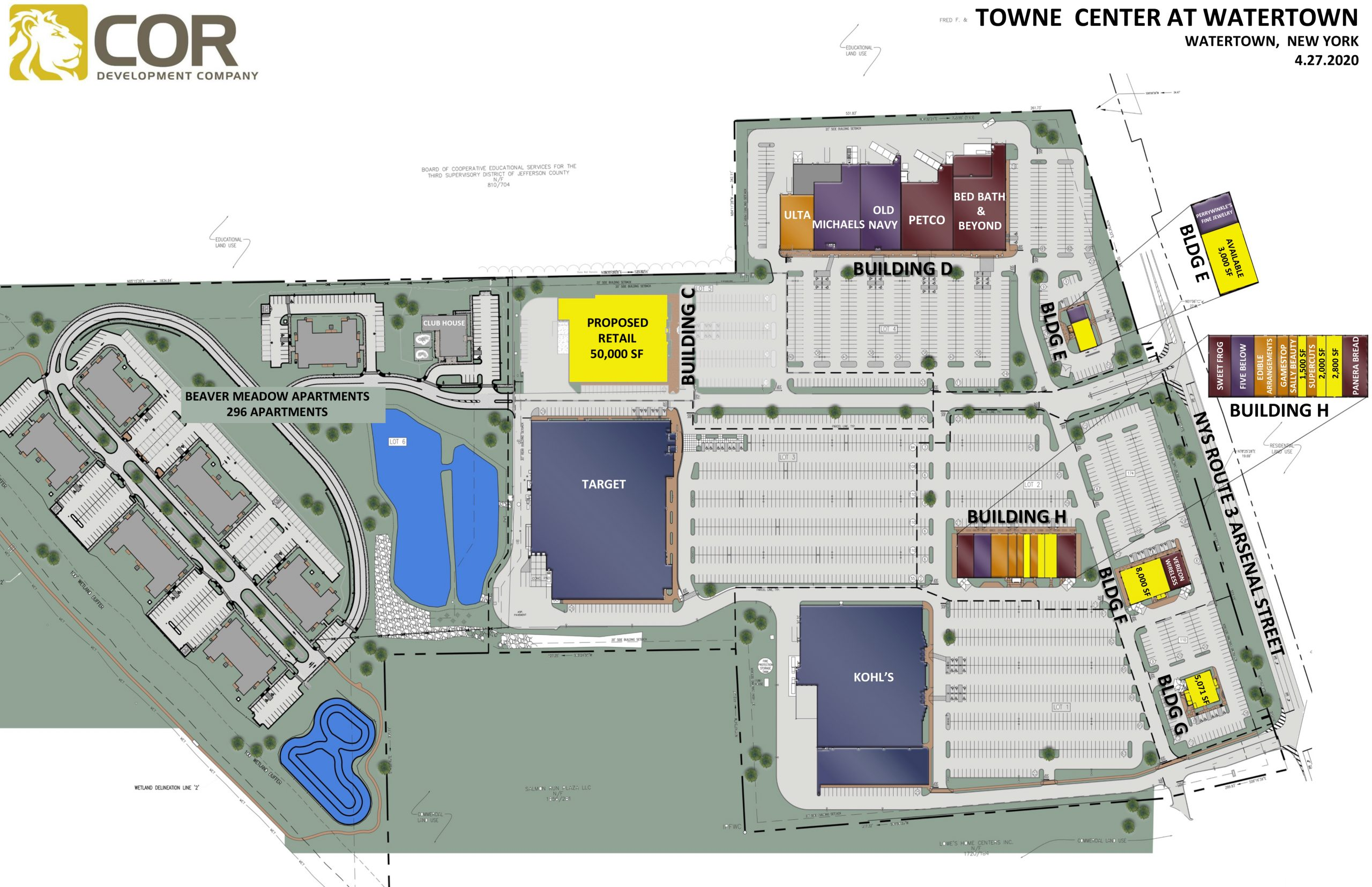 F Towne Center at Watertown MASTER SITE PLAN scaled - Towne Center at Watertown – Watertown, NY